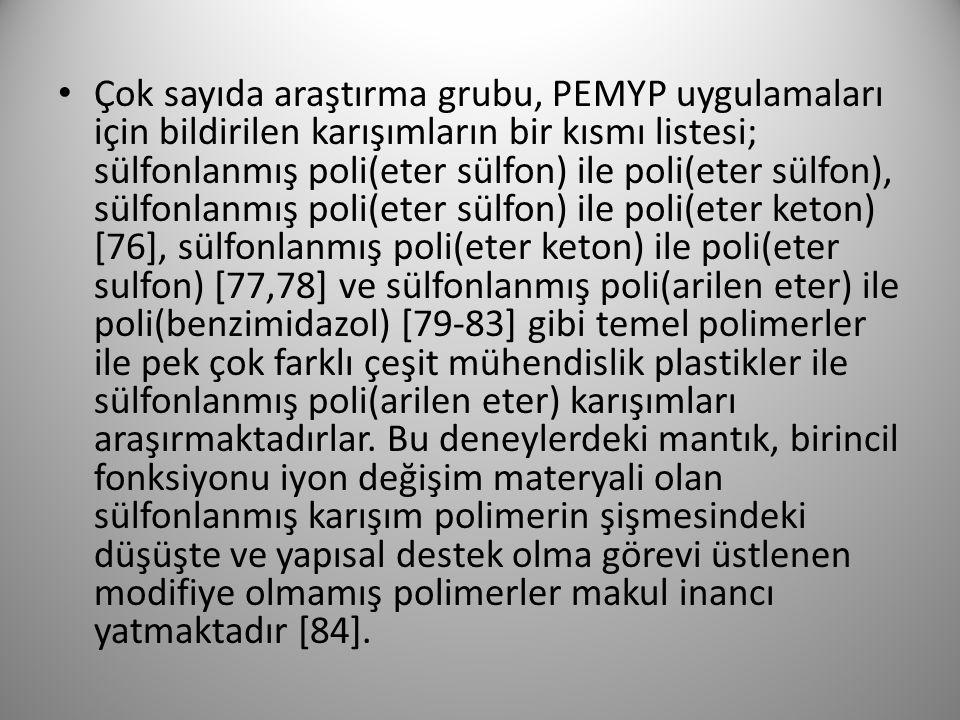 Çok sayıda araştırma grubu, PEMYP uygulamaları için bildirilen karışımların bir kısmı listesi; sülfonlanmış poli(eter sülfon) ile poli(eter sülfon), sülfonlanmış poli(eter sülfon) ile poli(eter keton) [76], sülfonlanmış poli(eter keton) ile poli(eter sulfon) [77,78] ve sülfonlanmış poli(arilen eter) ile poli(benzimidazol) [79-83] gibi temel polimerler ile pek çok farklı çeşit mühendislik plastikler ile sülfonlanmış poli(arilen eter) karışımları araşırmaktadırlar.